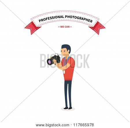 Professional Photographer Man Flat Design