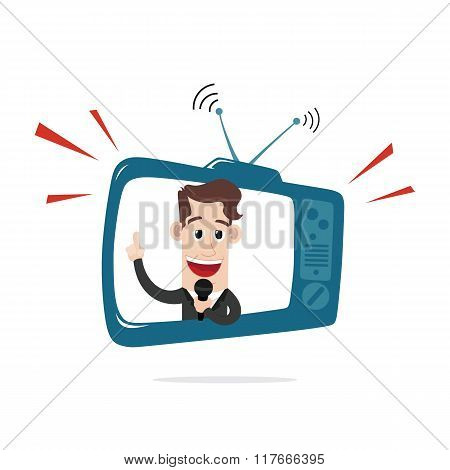 Businessman behind TV screen