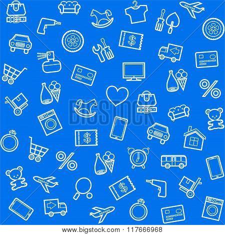 Background, Seamless, Blue, P...