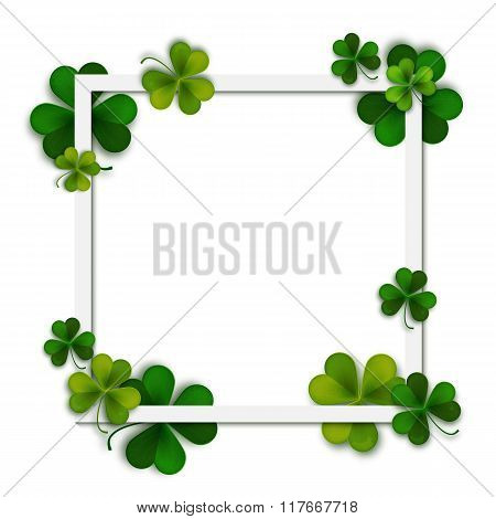 Happy Saint Patrick's Vector Background, Green Shamrock Leaves And Square Frame, Postcard, Vector Il