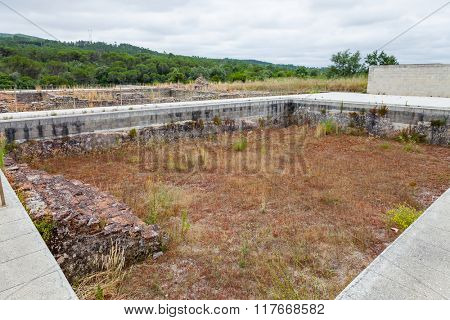 Natatio, or swimming pool, of the Great Baths of the South (Thermae) in Conimbriga. Conimbriga, in Portugal, is one of the best preserved Roman cities on the west of the empire.