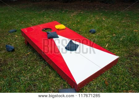 Cornhole Toss Game Board with Bean Bags