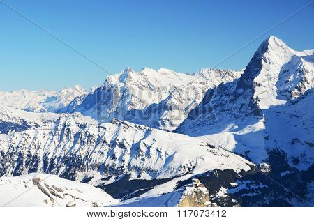 Famous Eiger mountain, view from Schilthorn. Swiss Alps