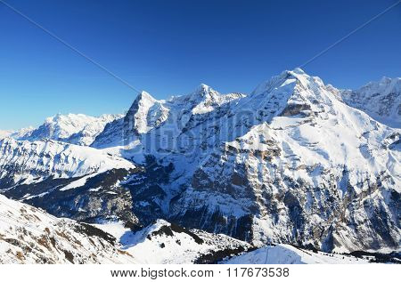 Eiger, Moench and Jungfrau: three famous Swiss mountain peaks