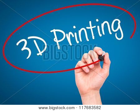 Man Hand Writing 3D Printing With Black Marker On Visual Screen.