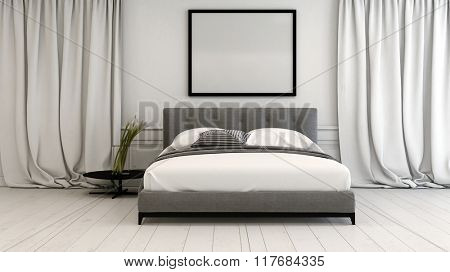 Modern bedroom interior in neutral tones with a double divan style bed between long floor length drapes on a white painted parquet floor, blank picture frame above, 3d rendering