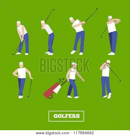 People Playing Golf Vector Set. Swing With A Golf Club. Golf Car.