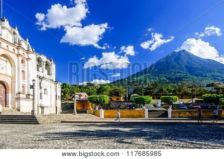 Church & Volcano Near Antigua, Guatemala