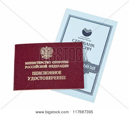 Russian Pension Certificate And Savings Book Of Saving Bank Of Russian Federation