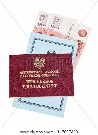 Russian Pension Certificate, Savings Book Of Saving Bank Of Russian Federation And Banknotes