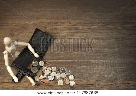 Wood Humane Figurine, Empty Black Wallet And  English Coins, Overhead