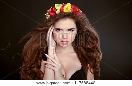 Long Hair. Makeup. Beautiful Girl Portrait With Chaplet Of Flowers. Brunette Fashion Woman With Mani
