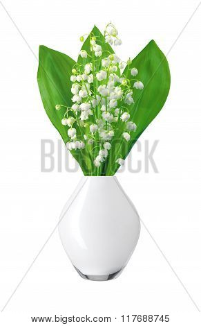 White Flowers Lilies Of The Valley In White Vase Isolated On White