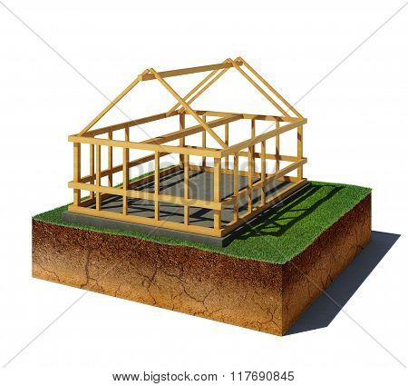Dirt Cube With Wooden Construction Isolated On White Background