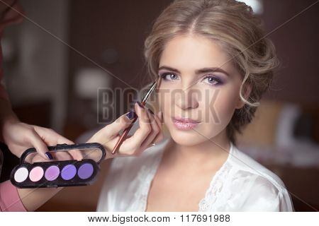 Beautiful Bride Portrait Wedding Makeup, Wedding Hairstyle, Wedding Dress. Professional Stylist. Wed