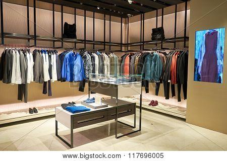 HONG KONG - JANUARY 26, 2016: inside of Shiatzy Chen store at Elements Shopping Mall. Shiatzy Chen is a Taiwanese fashion house, founded in 1978 by Wang Chen Tsai-Hsia