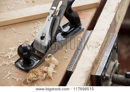 Metal hand plane for woodworking and carpentry.