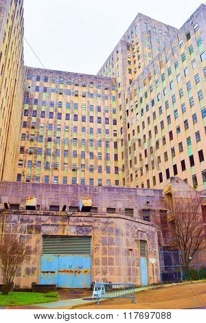 February 2, 2016 in New Orleans, LA:  Forgotten Charity Hospital abandoned since 2005 after Hurricane Katrina where tourists can see haunting images of a large highrise building taken in New Orleans, LA
