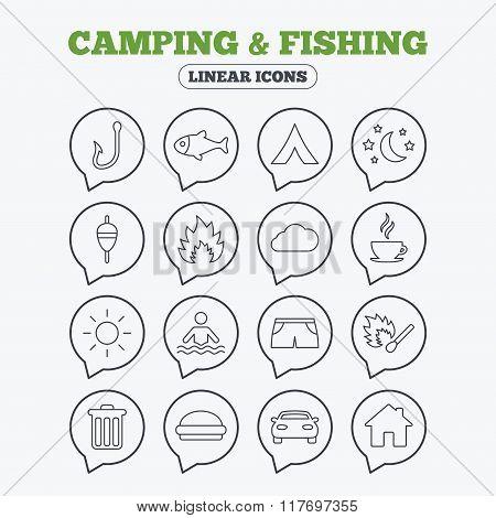 Camping and fishing icon. Coffee cup, hamburger.