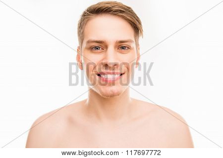 Close Up Portrait Of Cheerful Hansome Young Healthy Man