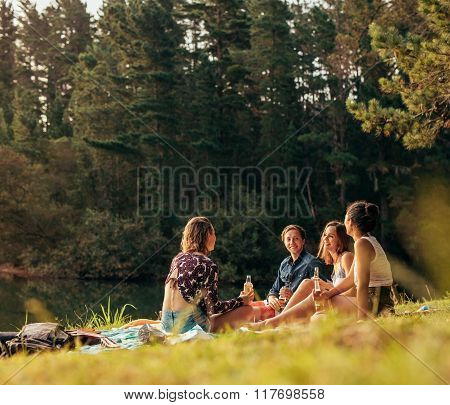 Group Of Teenagers Having A Picnic On The Lake