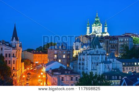 Kiev, Ukraine. Beautiful Night View Of The Ancient Street Andrew's Descent