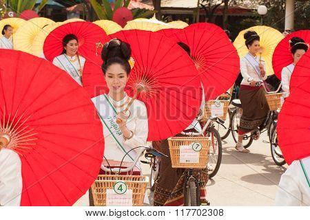 Pretty Woman In Parade,Umbrella Festival In Thailand.