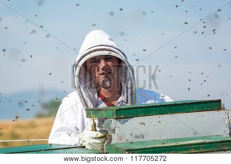 Closeup Of A Beekeeper