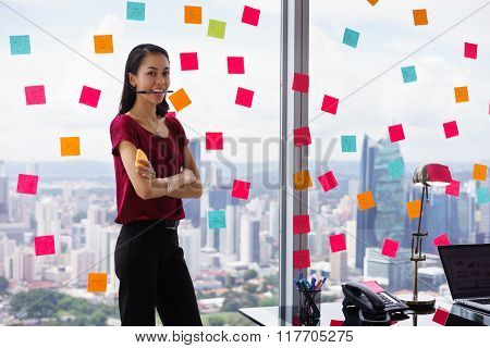 Portrait Business Woman Biting Pen Writing Sticky Notes
