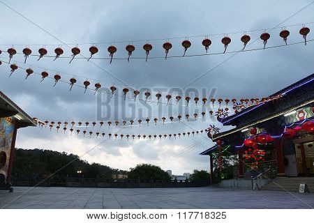 Chinese lantern against cloudy sky