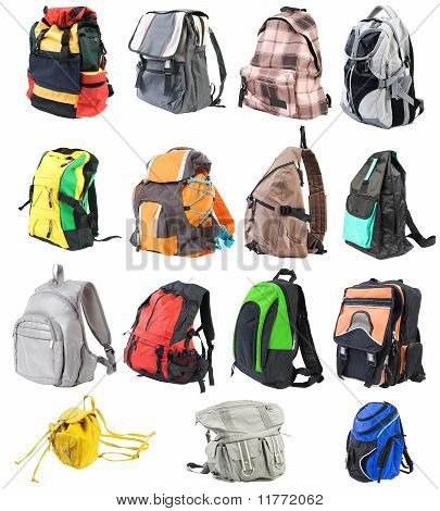 Bagpacks Set #1. 15 Objects. Front View   Isolated