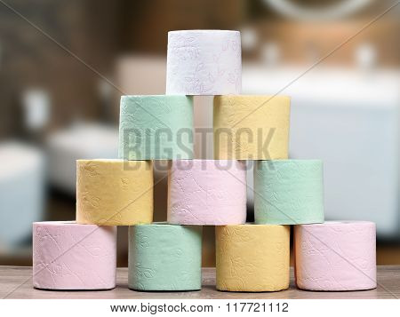 Multi-colored toilet paper