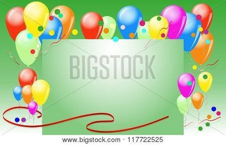 Greeting Card With Balloons And Ribbons