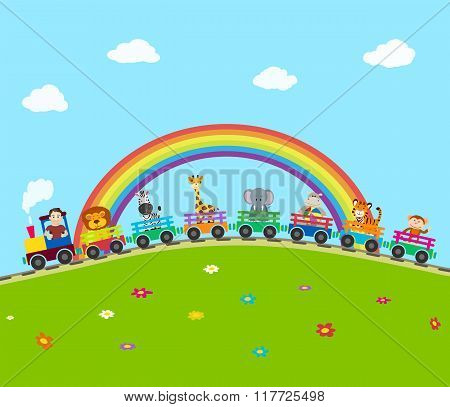 Cartoon Railway Train With Animals