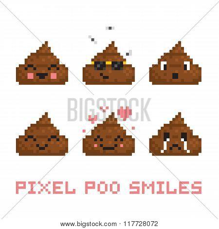 Pixel art style poo smile vector set