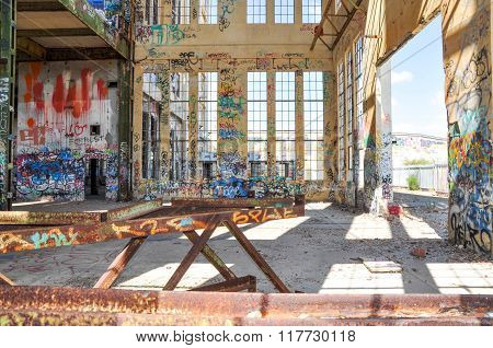 Abandoned Power House: Rusted and Tagged