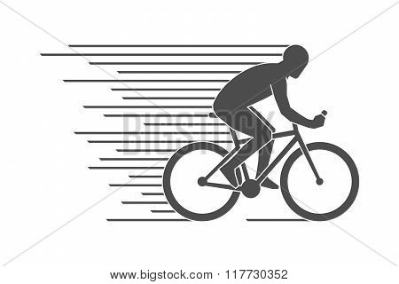 Black Flat Cycling Logo And Icon. Vector Figures Cyclist.
