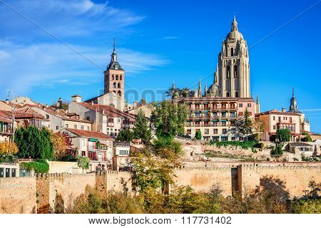 Segovia Spain. Panoramic view of the historic city of Segovia skyline with Catedral de Santa Maria de Segovia Castilla y Leon.