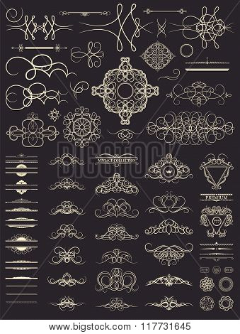 Vintage set decor elements. Decoration for logo, wedding album o