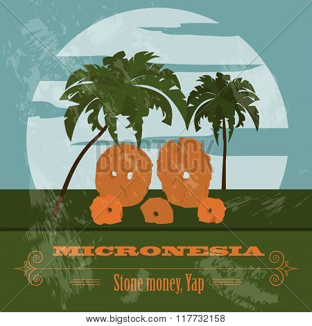Micronesia infographics, statistical data, sights. Stone money. Yap