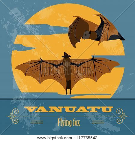 Vanuatu. Flying fox. Retro styled image. Vector illustration. Graphic template