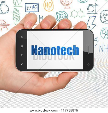 Science concept: Hand Holding Smartphone with Nanotech on display