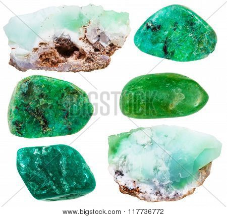 set of natural mineral stones - specimens of chrysoprase (chrysophrase chrysoprasus) tumbled gemstones and rocks isolated on white background poster
