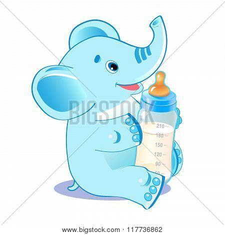 Cute Elephant. Elephant With Milk Bottle. Welcome Baby Boy. Vector Illustration. Cute Elephant Baby. Cute Elephant Playing. Cute Elephant Drawing. Cute Elephant Costume. Cute Elephant Plush Toy.