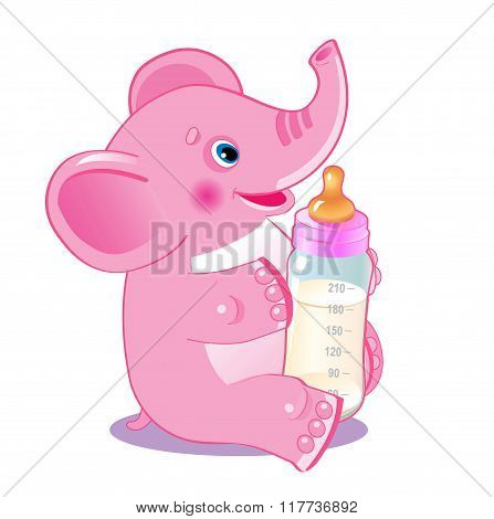 Cute Elephant. Elephant With Milk Bottle. Welcome Baby Girl. Vector Illustration. Cute Elephant Baby. Cute Elephant Playing. Cute Elephant Drawing. Cute Elephant Costume. Cute Elephant Plush Toy.