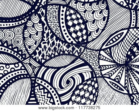 Zentangle Background Tangled Ornament On White 4