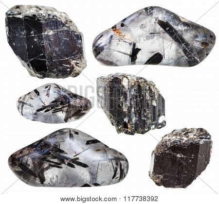 Schorl (black Tourmaline) In Crystals Isolated