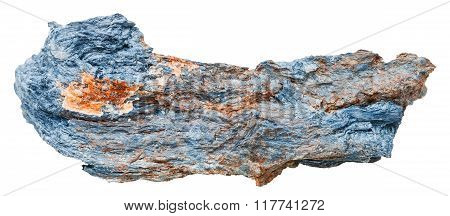 macro shooting of natural mineral stone - rhodusite (blue asbestos riebeckite) gemstone isolated on white background poster
