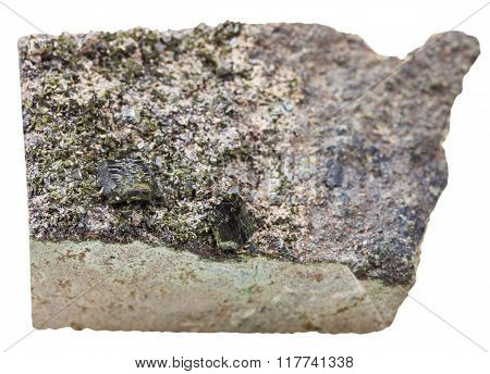 Green Epidote Crystals On Stone Isolated On White