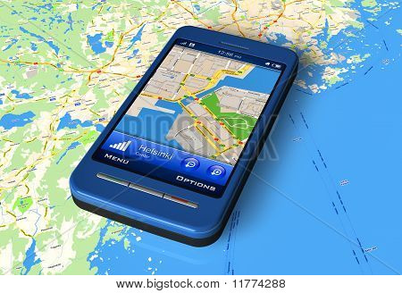phone with   navigator on map